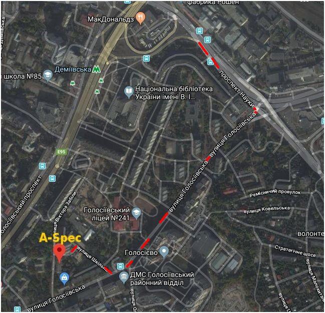 карта проезда воентор киев