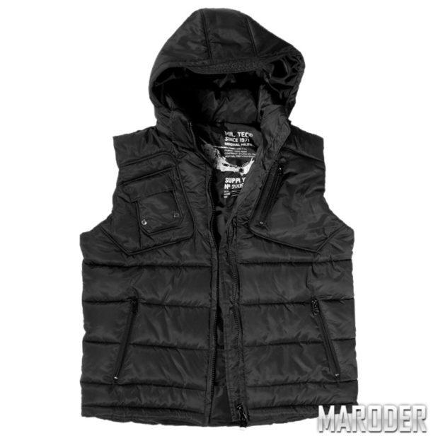 Куртка без рукавов PRO VEST с капюшоном, черная