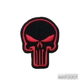 Нашивка череп каратель Punisher красно-черный