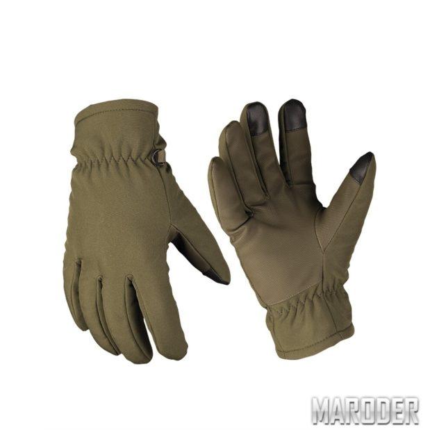 Перчатки сенсорные зимние SOFTSHELL THINSULATE Олива