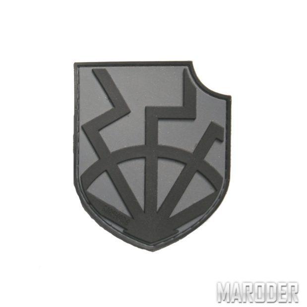 Шеврон ПВХ Black Sun on shield grey