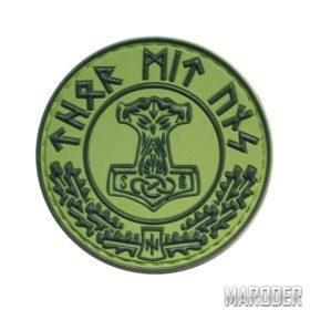 Нашивка Thor Mit Uns зеленая резиновая ПВХ морал патч