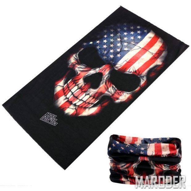 Баф с черепом расцветки флага США