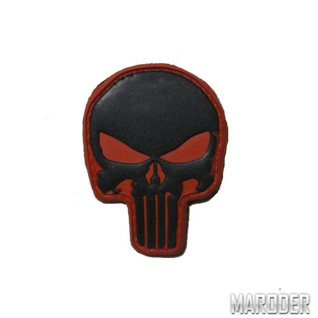 Нашивка череп каратель Punisher PVS Красно-черный