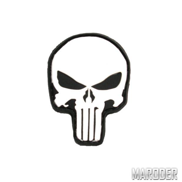 Нашивка череп каратель Punisher PVS Белый